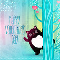 Happy Valentines Day card with cat