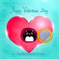 Happy valentines day card with cat cute vector illustration Stock Photography
