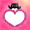 Happy valentines day card with cat cute vector illustration Stock Photos