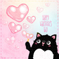 Happy valentines day card with cat cute vector illustration Royalty Free Stock Image