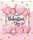Happy Valentines day card with cute pink heart balloons. Template for background, poster, advertising, sale, postcard