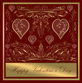 Happy valentines day card gold Royalty Free Stock Photos