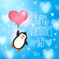 Happy valentines day card with penguin cute vector illustration Stock Image