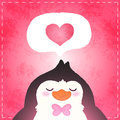 Happy valentines day card with penguin and heart this is file of eps format Stock Image