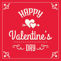 Happy valentines day card in red and cream romantic template typographic design with hearts Royalty Free Stock Image