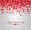 Happy valentines day. Card of red hearts falling