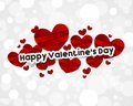 Happy valentines day card with red paper hearts vector illustration Royalty Free Stock Image