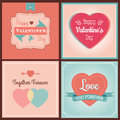 Happy valentines day card set typographical background vector illustrator calligraphic greeting with cupid and heart Royalty Free Stock Photos