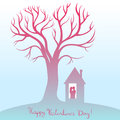 Happy Valentines Day. Card with tree of love