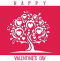 Happy Valentines Day card with tree