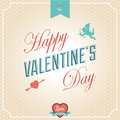 Happy valentines day card typographical background vector illustrator calligraphic greeting with cupid and heart Royalty Free Stock Images