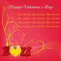 Happy valentines day cards with ornaments, hearts, ribbon