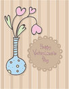 Happy Valentines Day design. Vase with hearts flowers. Holiday card.
