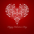 Happy Valentines Day Embossed Leaf Vine Hearts Stock Images
