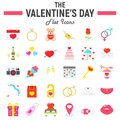 Happy Valentines Day flat icon set