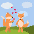 Happy Valentines day.Foxes in love.Vector illustration.
