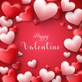 Happy valentines day frame background with hearts balloon in red background Royalty Free Stock Photo