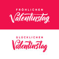 Happy Valentines Day. German Black and Pink Lettering Greeting Card White Background. Hand Drawn Calligraphy. Lovely