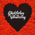 Happy Valentines Day German Language Card. Black Heart Shape on Rose Flowers Background.