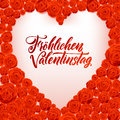 Happy Valentines Day German Language Card. White Heart Shape on Rose Flowers Background.