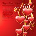 Happy valentines day greeting card design heart with gold borders Stock Photo