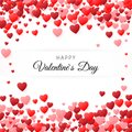 Happy Valentines day greeting card. Greeting card cover template. Background filled with hearts with place for inscription. Vector