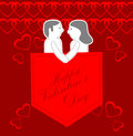 Happy valentines day greeting card paper cut couple with heart background Stock Photos