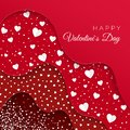 Happy Valentines Day greeting card. Red Layers with different Decorative Elements. Paper White Hearts. Romantic Weeding Design.