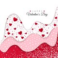 Happy Valentines Day greeting card. Red Wavy Layers Decorated White Hearts. Romantic Weeding Design.