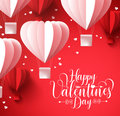 Happy valentines day greetings with paper cut heart shape balloons flying