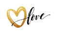 Happy Valentines Day hand lettering, with golden glitter . Vector illustration