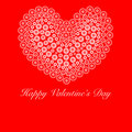 Happy Valentines Day Heart with Flower Circles Stock Photos
