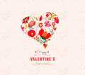 Happy valentines day with heart flowers floral background love romantic decoration for design Stock Images