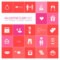 Happy valentines day icons and pictograms set vector hearts bear people Royalty Free Stock Photography