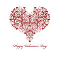 Happy Valentines Day Leaf Vine Hearts Motif Royalty Free Stock Photo