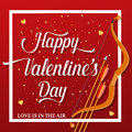 Happy Valentines Day lettering text with golden bow and arrow .