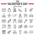 Happy Valentines Day line icon set