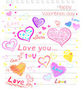 Happy valentines day love hearts sketchy notebook with doodles Stock Photography