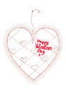 Happy valentines day message on a heart note board Royalty Free Stock Images