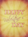 Happy valentines day with rays on old paper Royalty Free Stock Photo