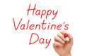 Happy valentines day red marker hand writing with on transparent wipe board Stock Photo