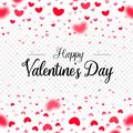 Happy Valentines Day, red vector paper hearts falling, card border template on white transparent background.