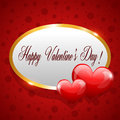 Happy valentines day round framed banner with hearts card design Stock Photography