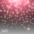 Happy Valentines Day with Shiny Hearts Sparkles Bokeh Effect Royalty Free Stock Photo