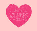 Happy valentines day used vector illustration of card with a big pink heart with effect Stock Image