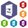 Happy Valentines day or weeding card icons set