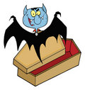 Happy vampire out of the coffin Royalty Free Stock Photo
