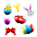 Happy Vector Stickers with Easter Themes Royalty Free Stock Images