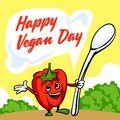 Happy vegan day concept background, cartoon style