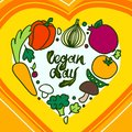 Happy vegan day concept background, hand drawn style